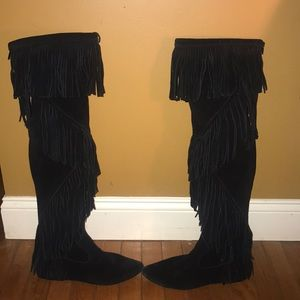 Sam Edelman knee high fringe boots